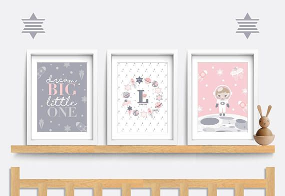 Hi There! This listing is for my own original artwork. No clipart or stock images are used! This beautiful set of personalised prints featuring a baby astronaut, planets and stars would be perfect for a baby girl in a space themed nursery! Perfect for a birthday or christmas
