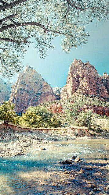 Beautiful Zion National Park On Sunny Day,utah,usa. Stock