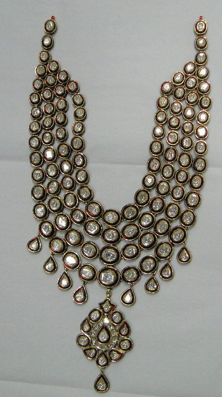 Antique style 20 ct Gold Diamond necklace set kundan meena work SKU: 2-NUI via Etsy