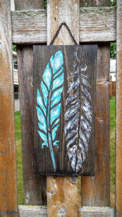 Feather Sign, Teal and Black Feather Sign, Rustic Feather Sign, Feather Home Decor, Feather Wall Art, Wood Signs, Boho Sign, Native Sign #rustichomedecor