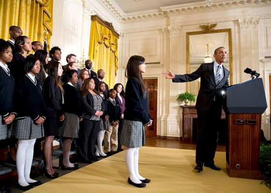 """President Barack Obama delivers remarks announcing the first five """"Promise Zones,"""" in the East Room of the White House, Jan. 9, 2014. (Offic..."""