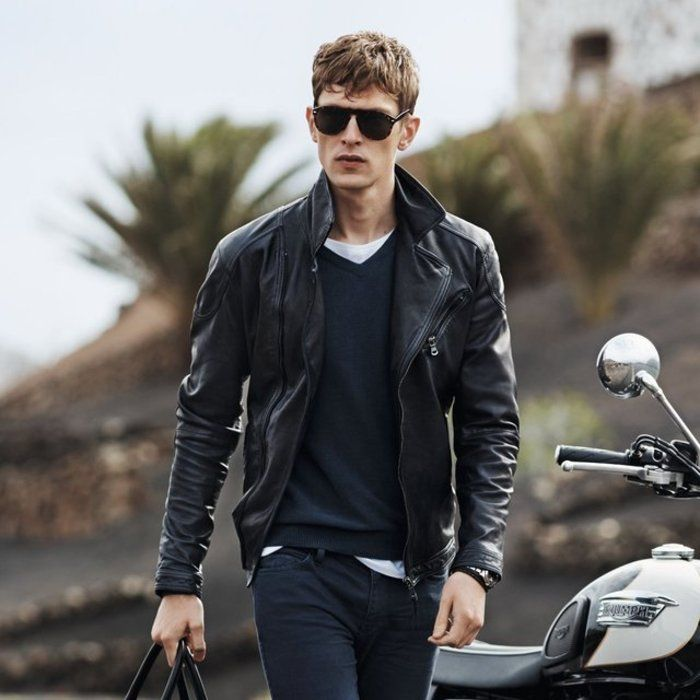 Combinar chaqueta piel negra hombre
