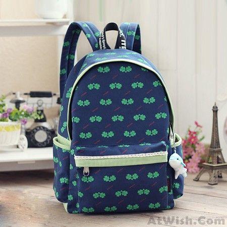 80b24e0b2f7d Fresh Four-leaf Clover Floral Pattern Lace School Bag Travel ...