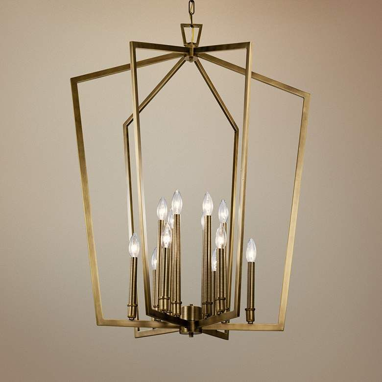 Abbotswell 30 Wide Natural Brass 12 Light Foyer Chandelier