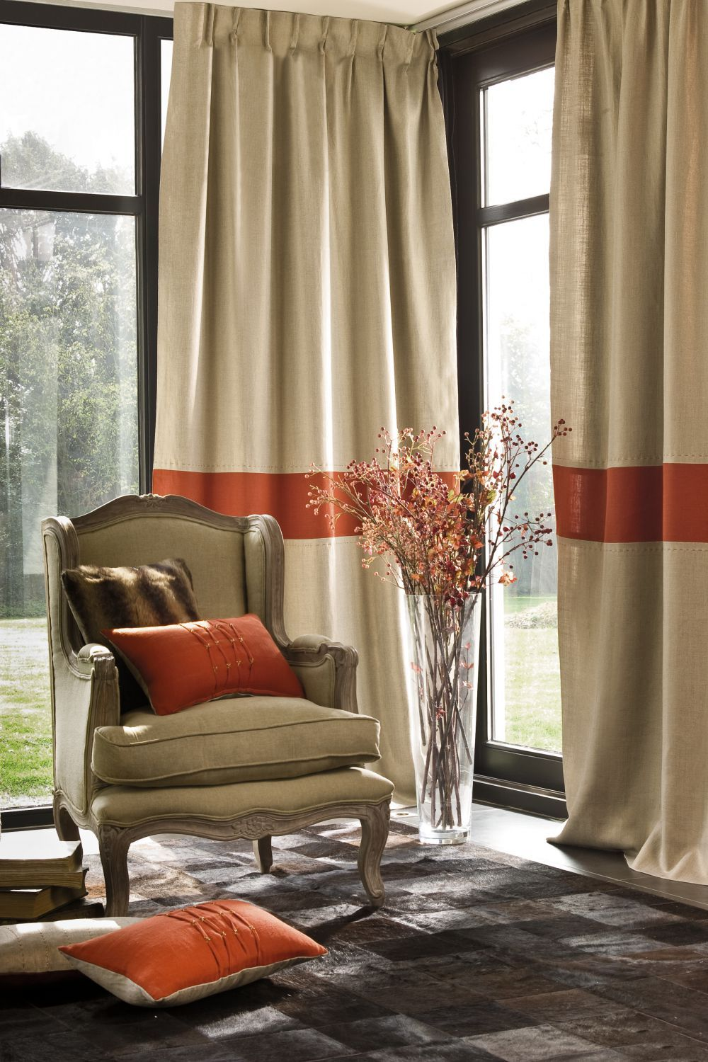 Pin On Living Room Lobby #rust #curtains #for #living #room