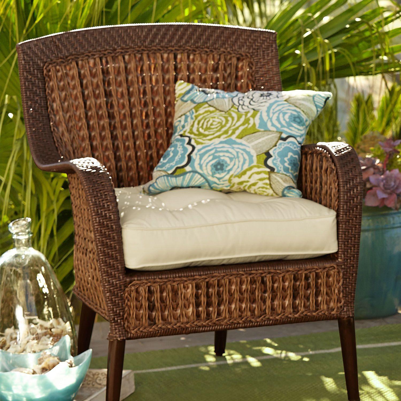 Large Contour Chair Cushion In Cabana Cream White Chair