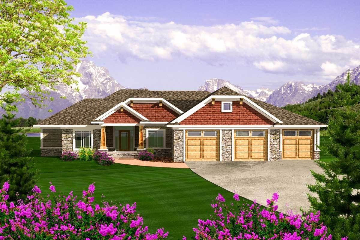 Plan 89868ah Craftsman Ranch With 3 Car Garage Rambler House Plans Ranch Style House Plans Craftsman House Plans