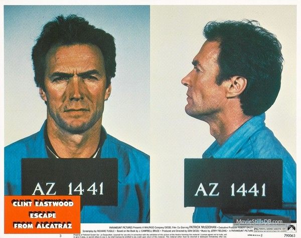 Escape From Alcatraz Lobby Card With Clint Eastwood Clint