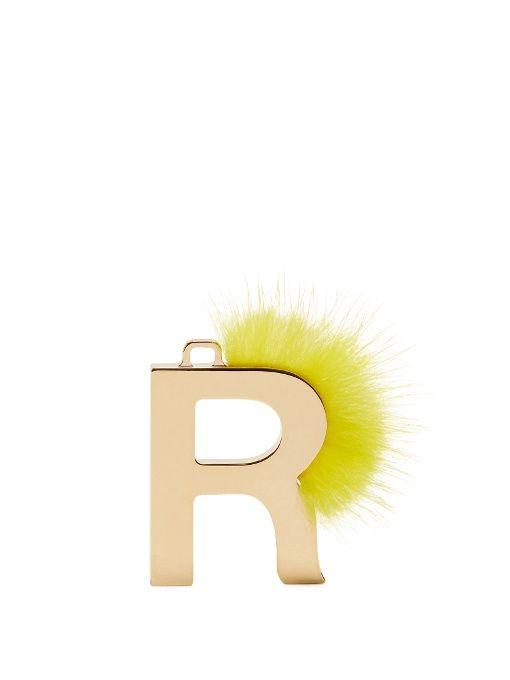 abclick letter r mink charm for handbag multi gold fendi