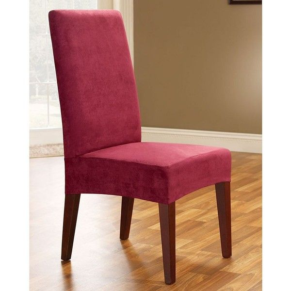 Sure Fit Faux Suede Dining Room Chair Slipcover Red 24