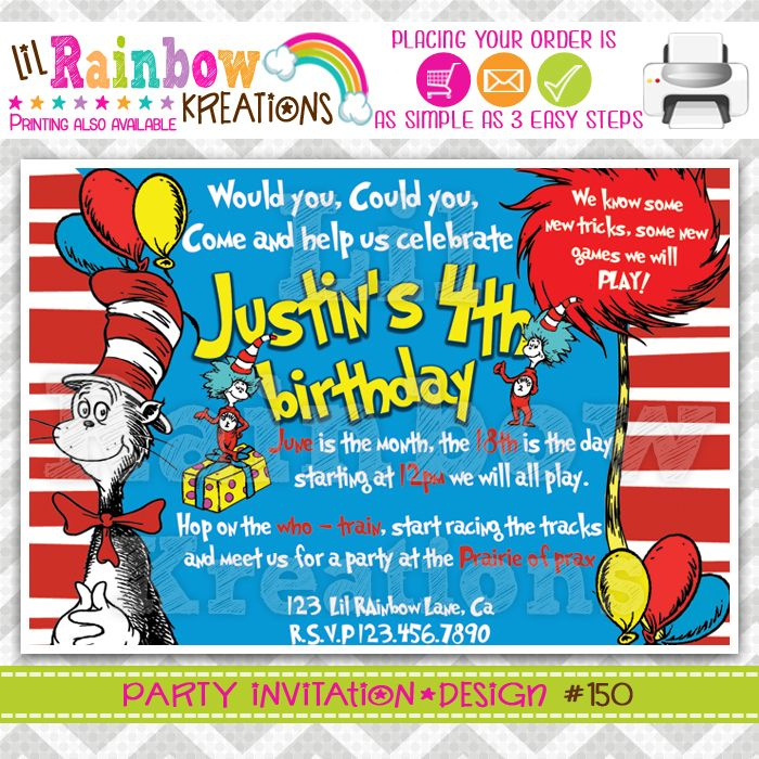 THE CAT IN THE HAT PARTY INVITATION | INVITATIONS | Pinterest ...