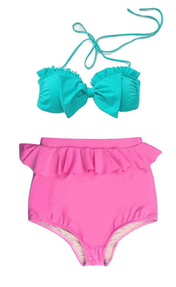 Mint Bow Top and Pink Peplum Highwaisted High by venderstore, $39.99