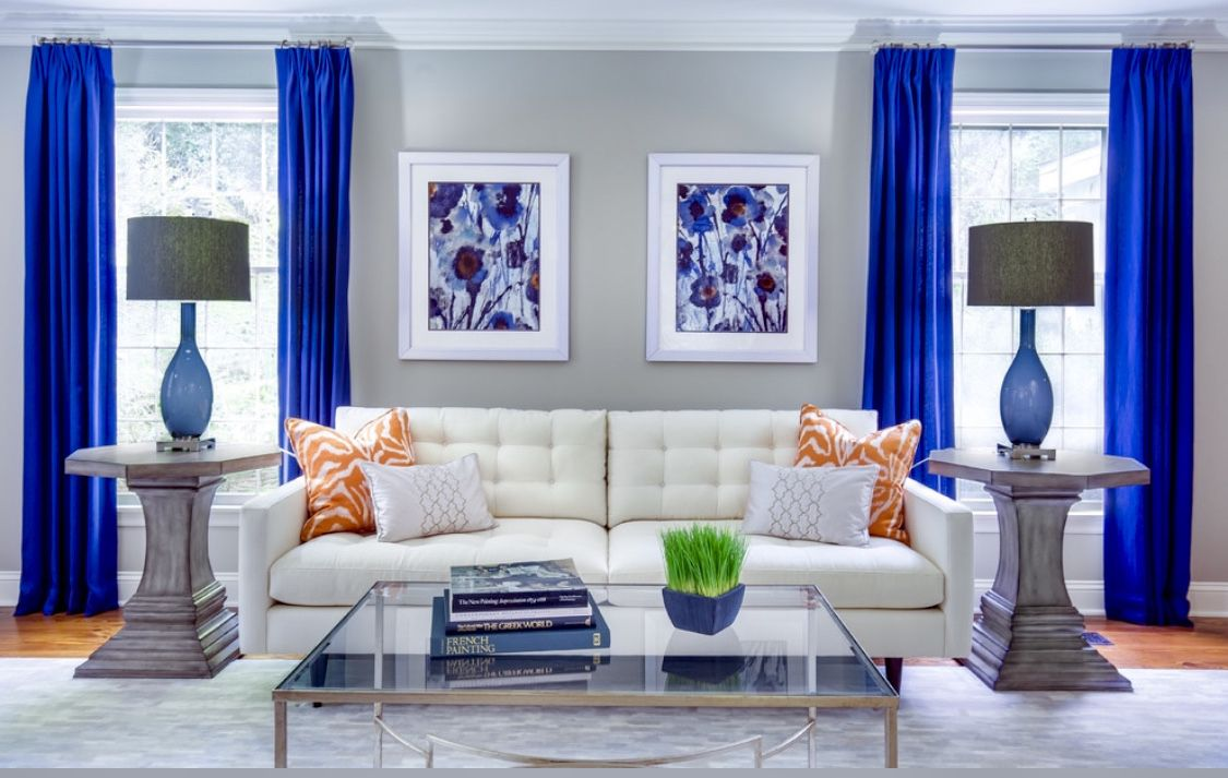 midcentury style white and blue living room white