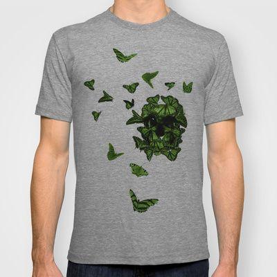 butterfly skull T-shirt by Gabriele Omar Lakhal - $18.00