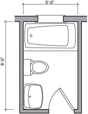 Three Quarter Bath designs | traditional 40 square foot ...