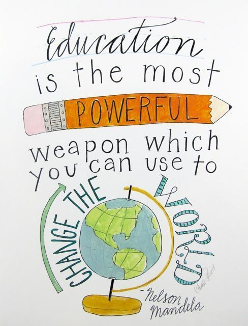 Education is the Most Powerful Weapon by Nelson Mandela – 8 1/2 x 11 art print signed by Aimee Ferre