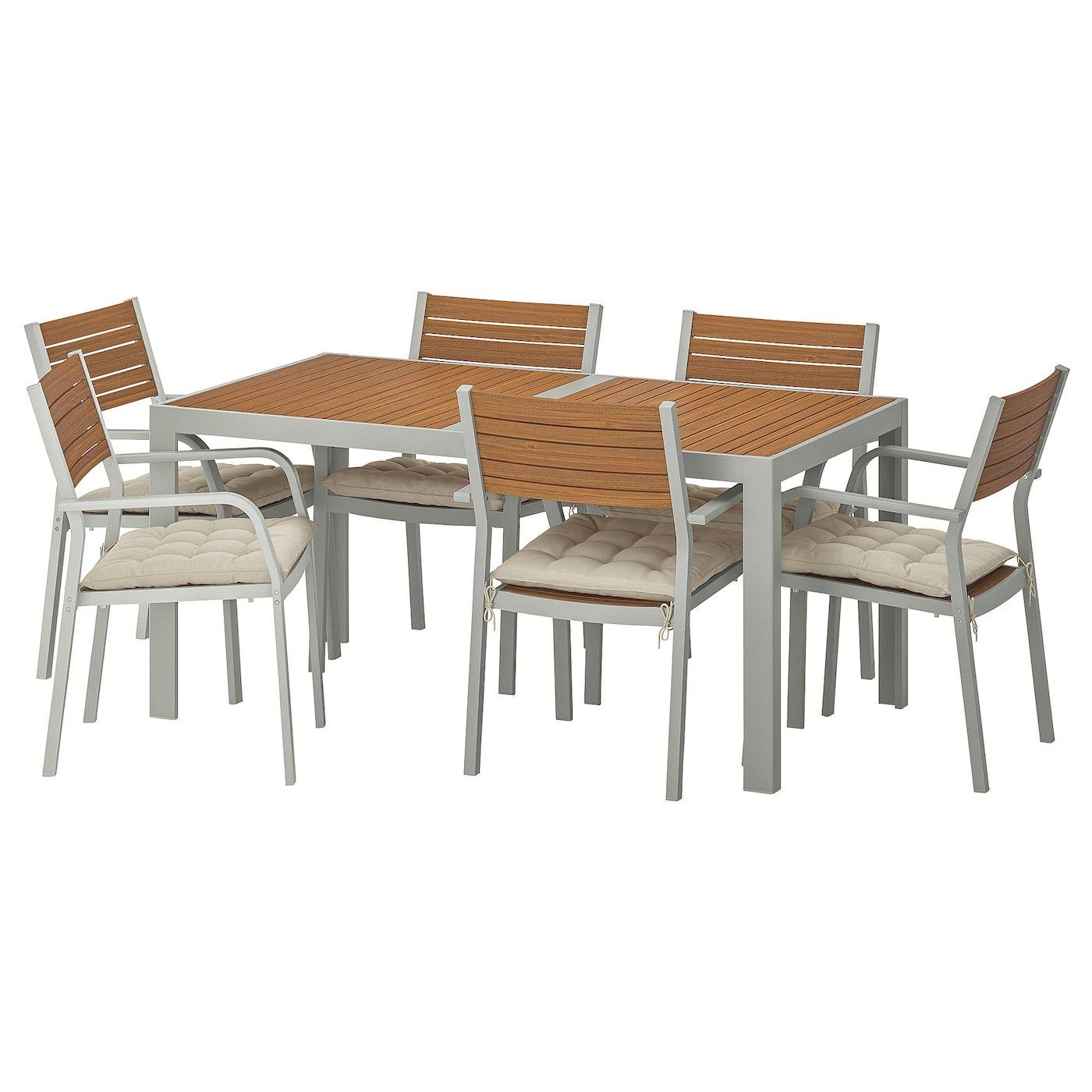 Sjalland Tisch 6 Armlehnstuhle Aussen Hellbraun Hallo Beige