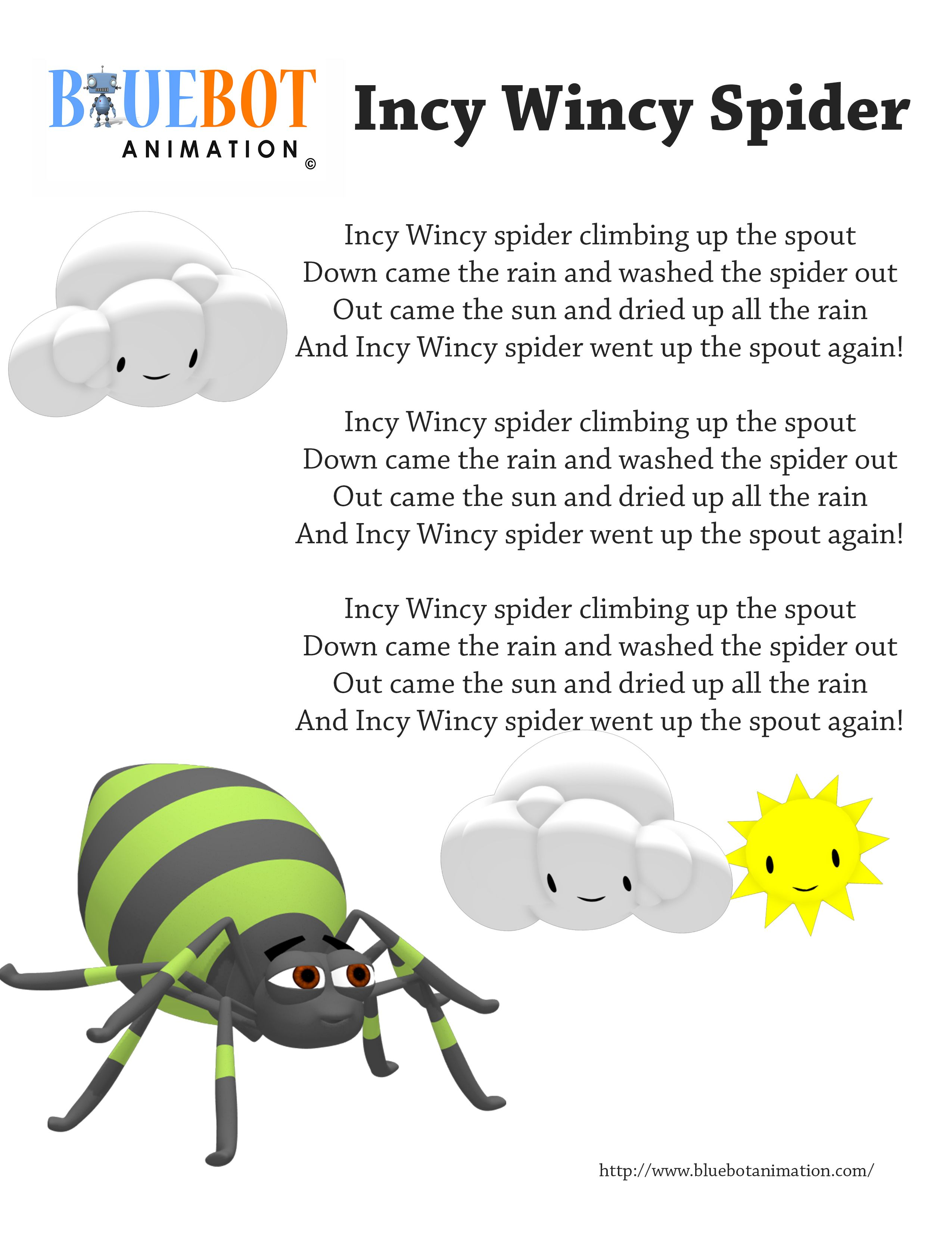 Incy Wincy Spider Itsy Bitsy Spider Nursery Rhyme Lyrics