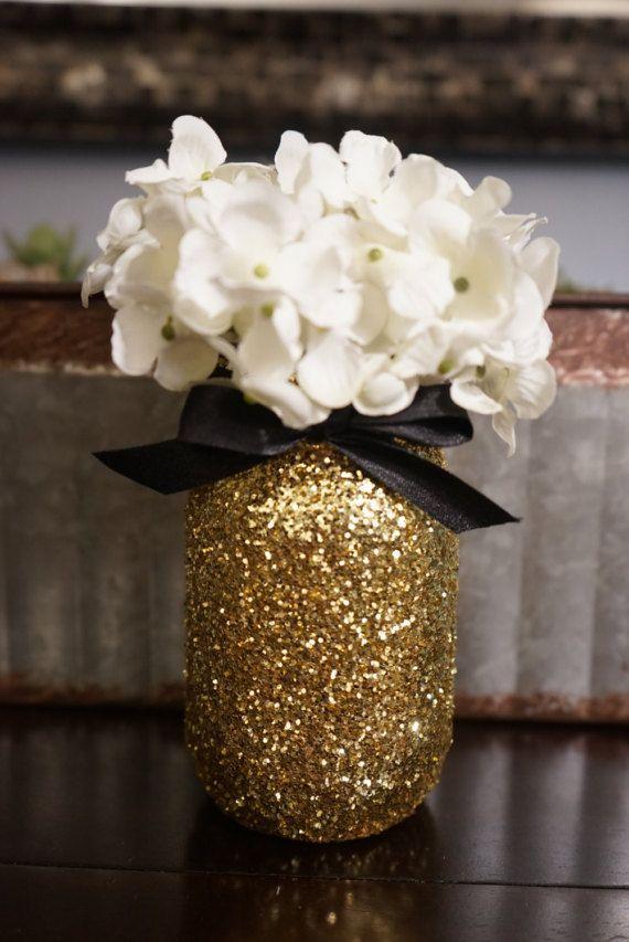 3 Gold Glitter Mason Jar Black Ribbon Centerpieces Glitter Table
