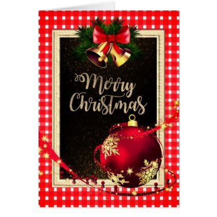 White Amp Red Checked Christmas Greeting Card Xmas