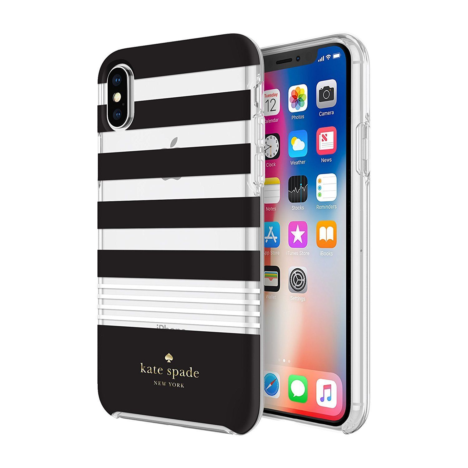 Kate spade new york iphone x case clear black and white