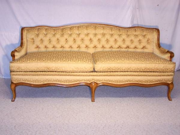 Custom Made 1962 Vintage French Provincial Sofa And Companion Chair By The  Pioneer Furniture Company Detroit, Michigan. Sofa Fabric Is Barker Gold  With A ...