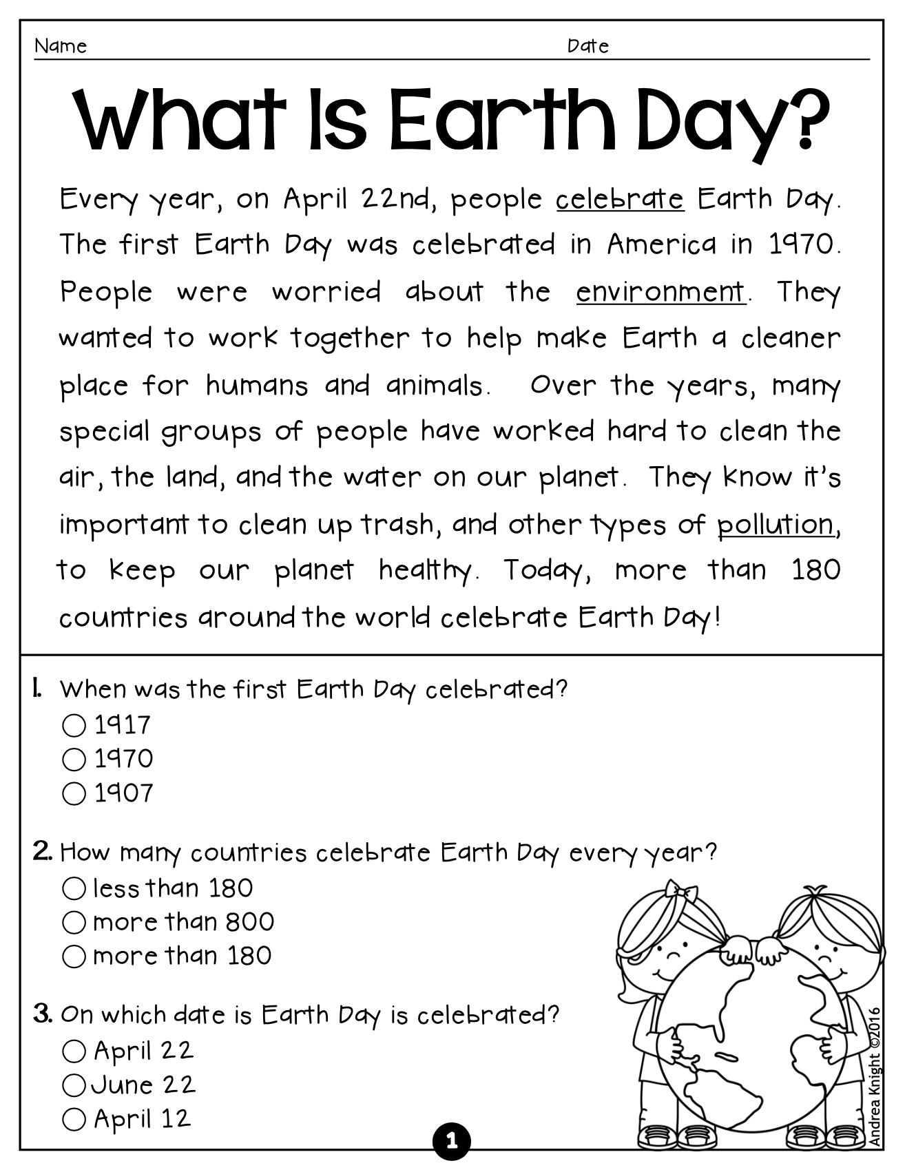 Earth Day 5 Short Nonfiction Passages With Comprehension