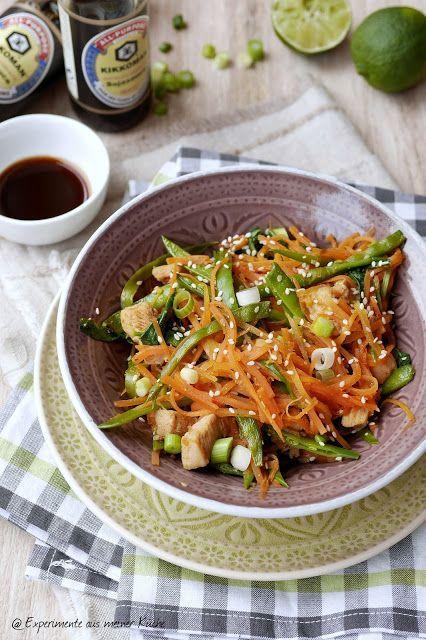 Asiatische Möhrennudeln mit Hähnchen Low carb - experimente aus meiner küche