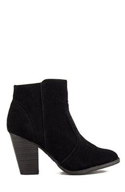 Breckelles Womens Heather-34 Faux Suede Chunky Heel Ankle Booties