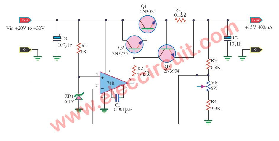 dc regulator, 15v 400ma using ic-748 and 2n3055