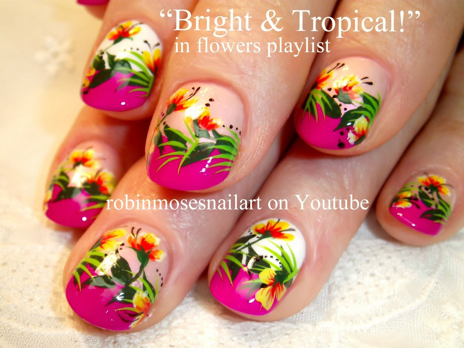 Pin By Michelle Myers On Nail Tropical Nail Art Tropical Flower Nails Tropical Nails