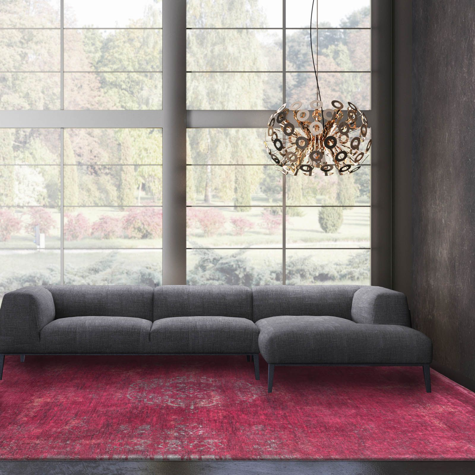 Louis De Poortere Fading World Rugs 8260 Scarlet60x90cm 3 0 X2 0 Art Pendant Cheerhuzz Rugs Traditional Rugs Indian Rugs