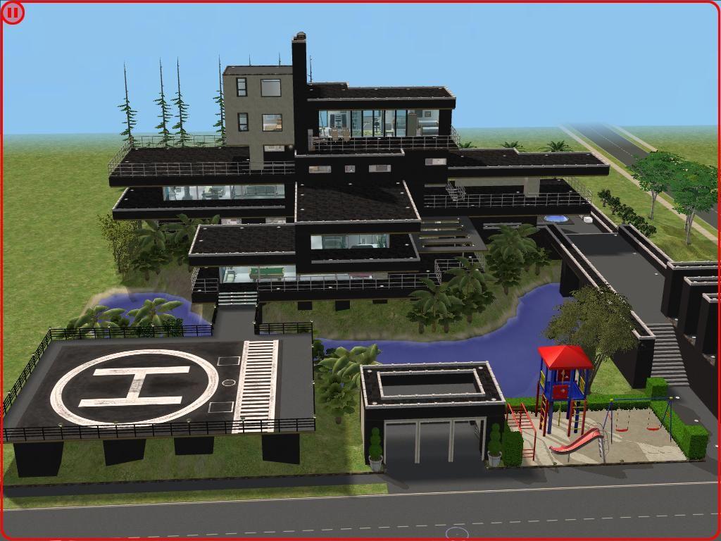 Modern mansions sims 2 modern black hillside mansion by ramborocky