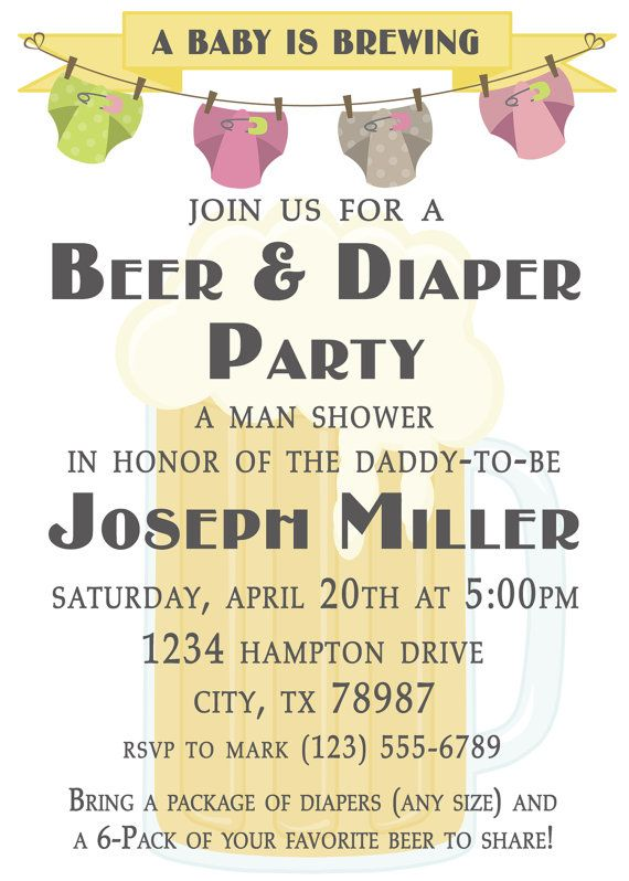 digital diaper and beer party invitation | diaper babies, baby, Party invitations