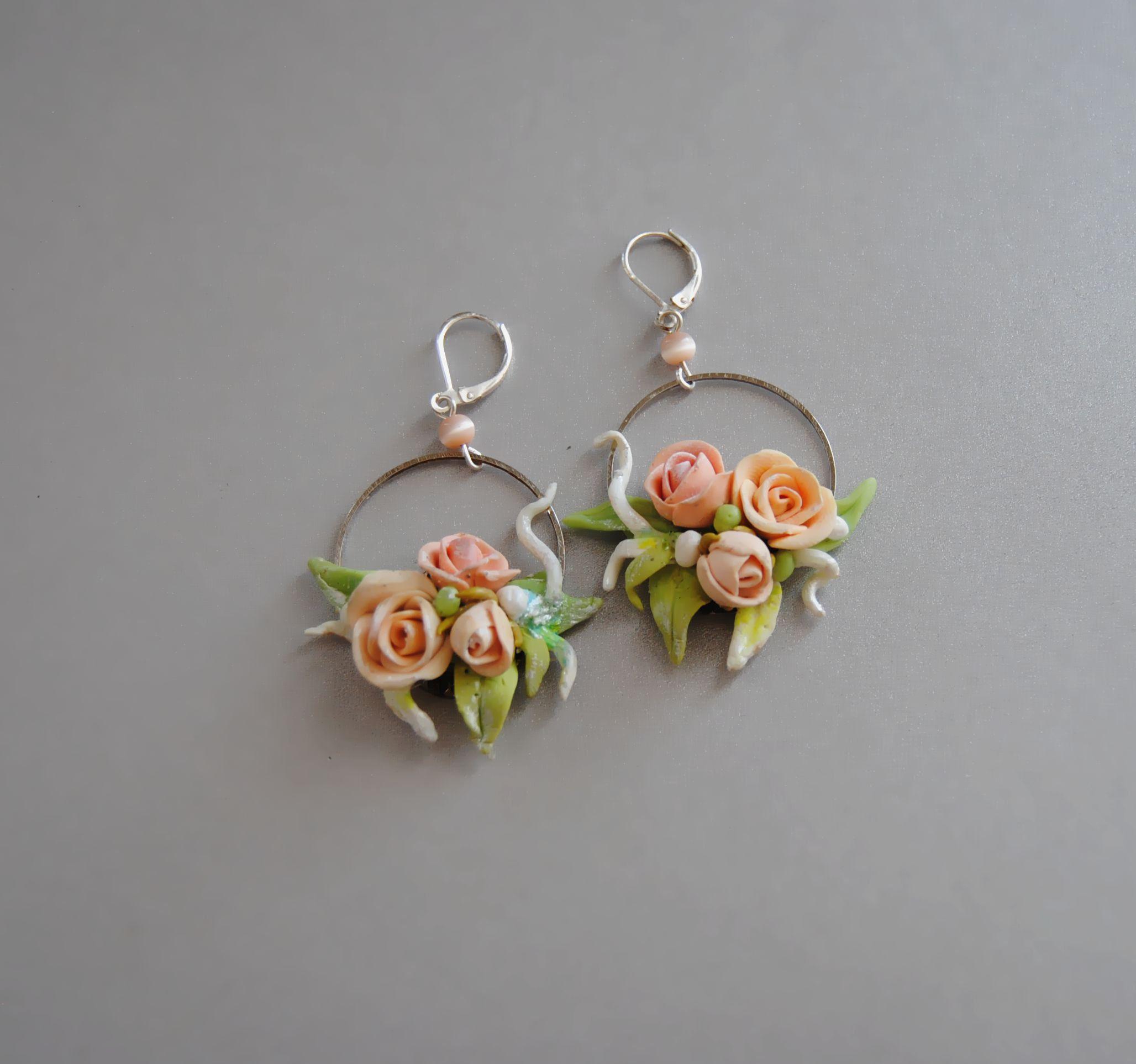 Wedding Earrings Rose Earrings Flower Jewelry Clay Flower Etsy Flower Jewellery Floral Jewellery Rose Earrings