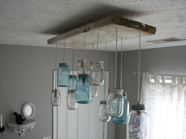 Mason Jar Dining Room Light. Only A Photo, But Looks Sooooo Awesome!