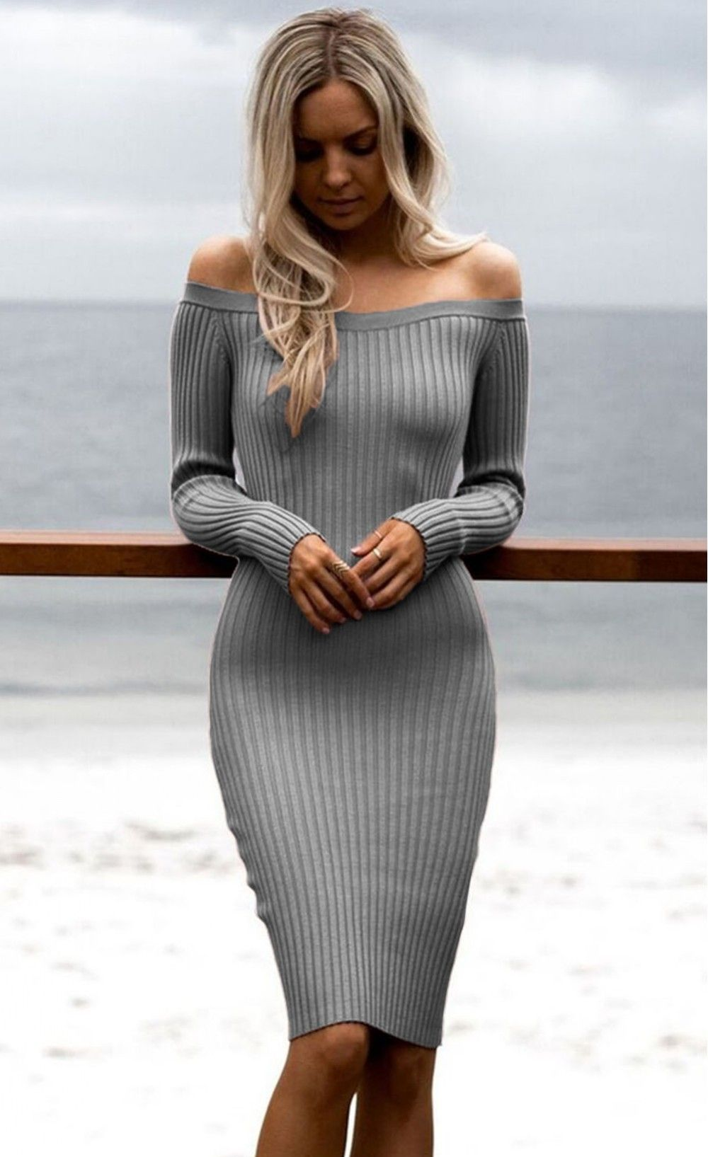 Gray Off Shoulder Long Sleeve Rib Knit Sweater Dress At Stella Dolls
