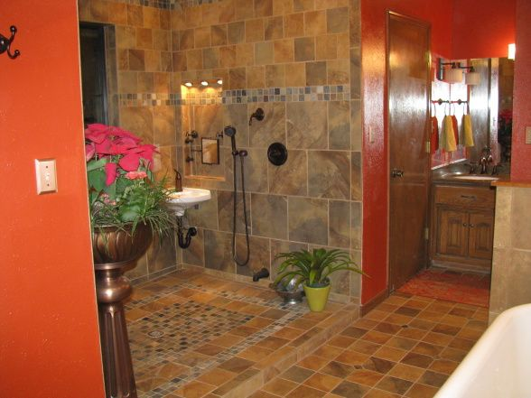 Tuscan Tile Oasis, An open shower space fit for a king, complete ...