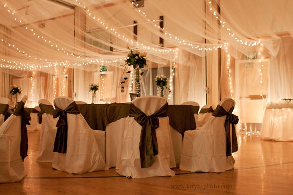 Wedding Reception In A Church S Gym White Fabrics Christmas Lights And