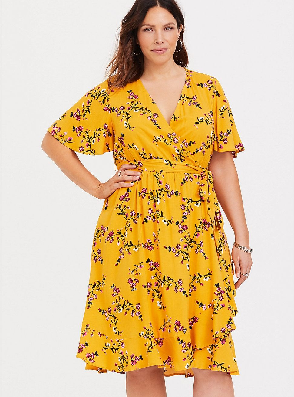 260e7d600223 Yellow Floral Challis Skater Dress in 2019 | Clothes | Dresses, Wrap ...