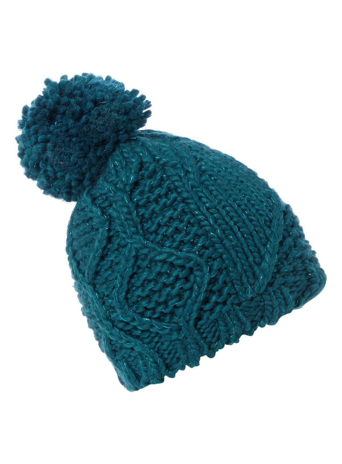 463bba708048f Crafted in a teal cable knit with metallic fibres