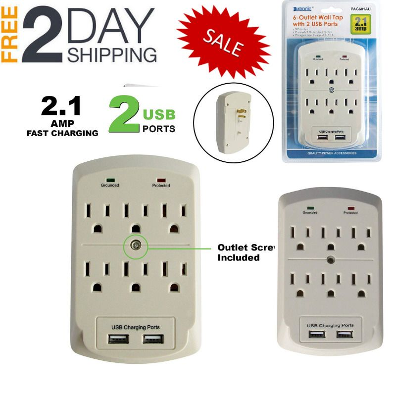 Wall Tap Adapter Extended Power Surge Protector With 6 Outlet 2 Dual Usb Port Us Luxtronic Wall Taps Dual Usb Usb