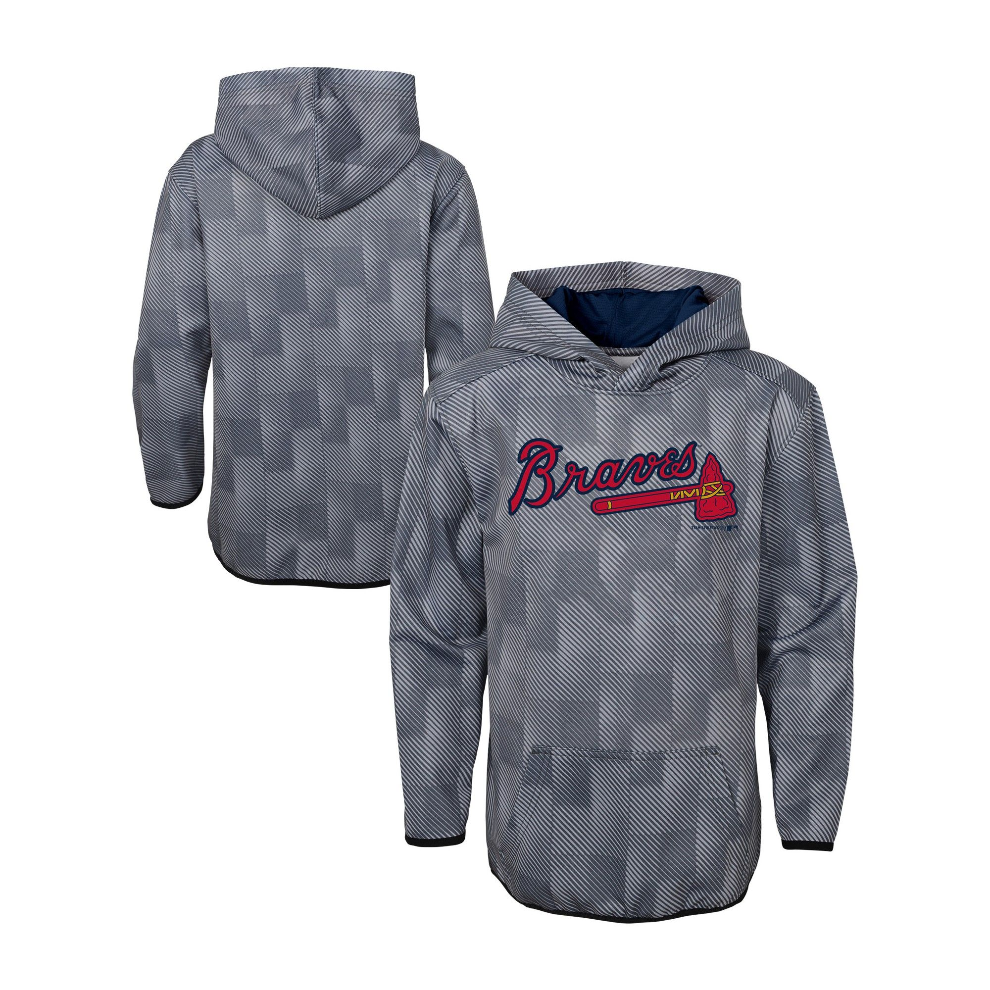 Mlb Atlanta Braves Boys First Pitch Gray Poly Hoodie M Size Medium Multicolored Hoodies Sport Outfits Hooded Sweatshirts