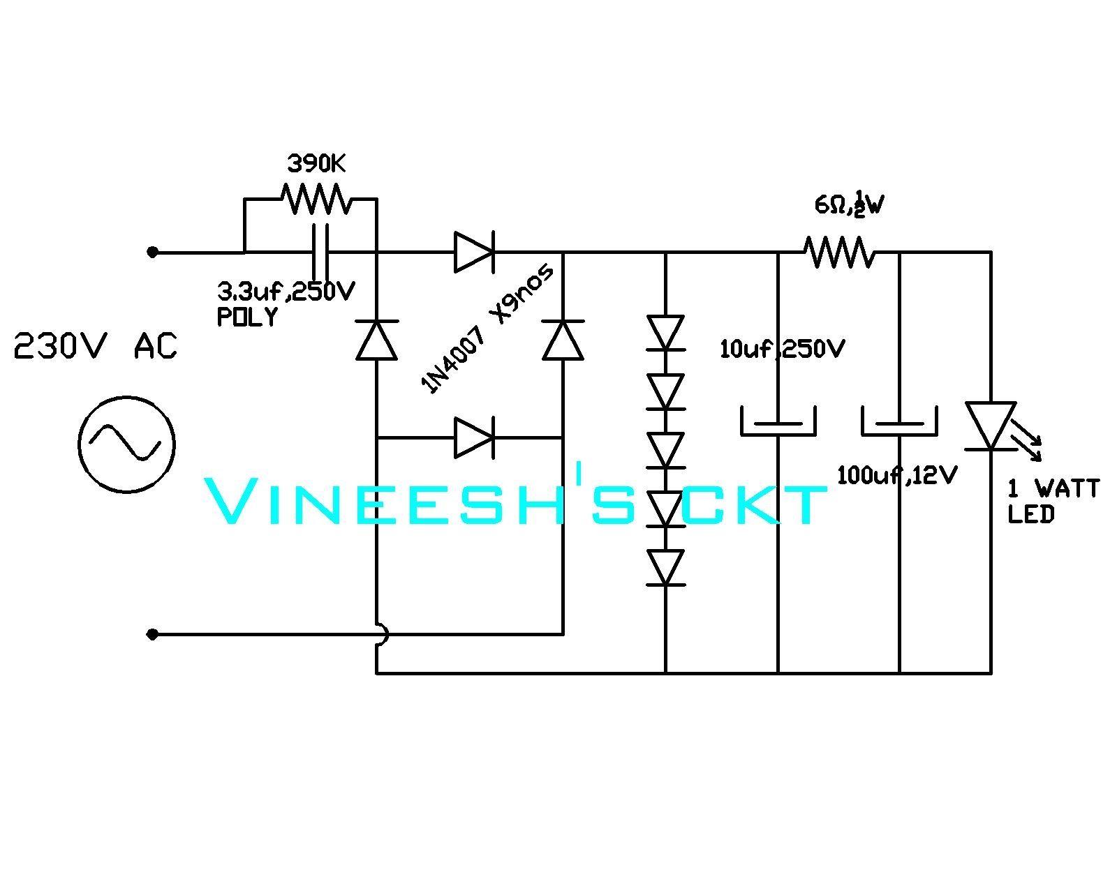 1 Watt Led Light Circuit Diagram httpscartclubus Pinterest