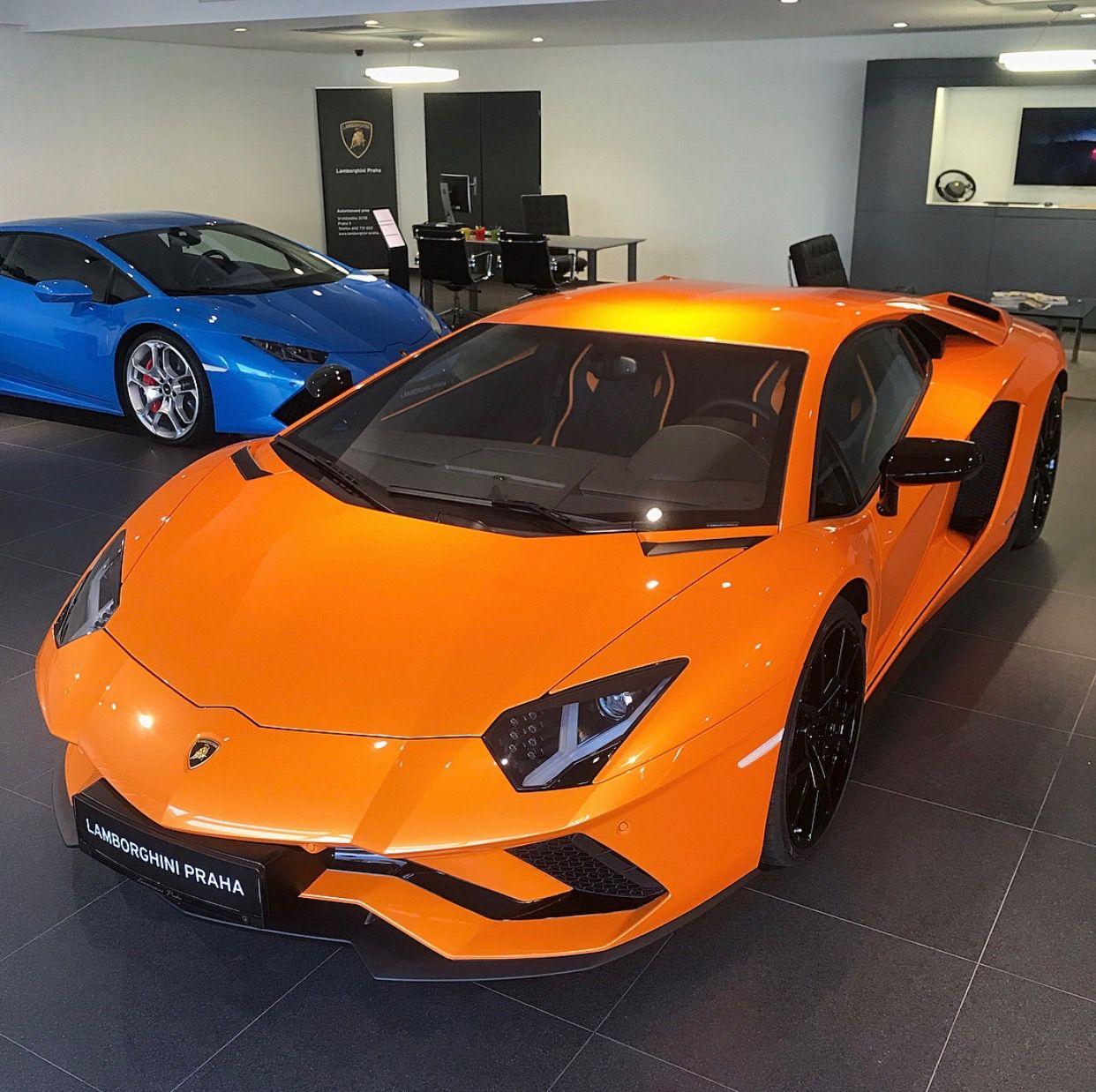 Lamborghini Aventador S painted in Arancio Atlas and a Lamborghini on