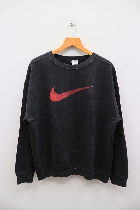 265306361e70f Vintage NIKE Big Logo Sportswear Black Pullover Sweatshirt Sweater ...