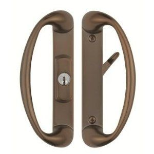 Cambridge Sliding Glass Door Handle With Center Keylock In Light Victorian Bronze Finish Fits 1 3 4 Thick Doors And Glass Door Sliding Glass Door Door Handles