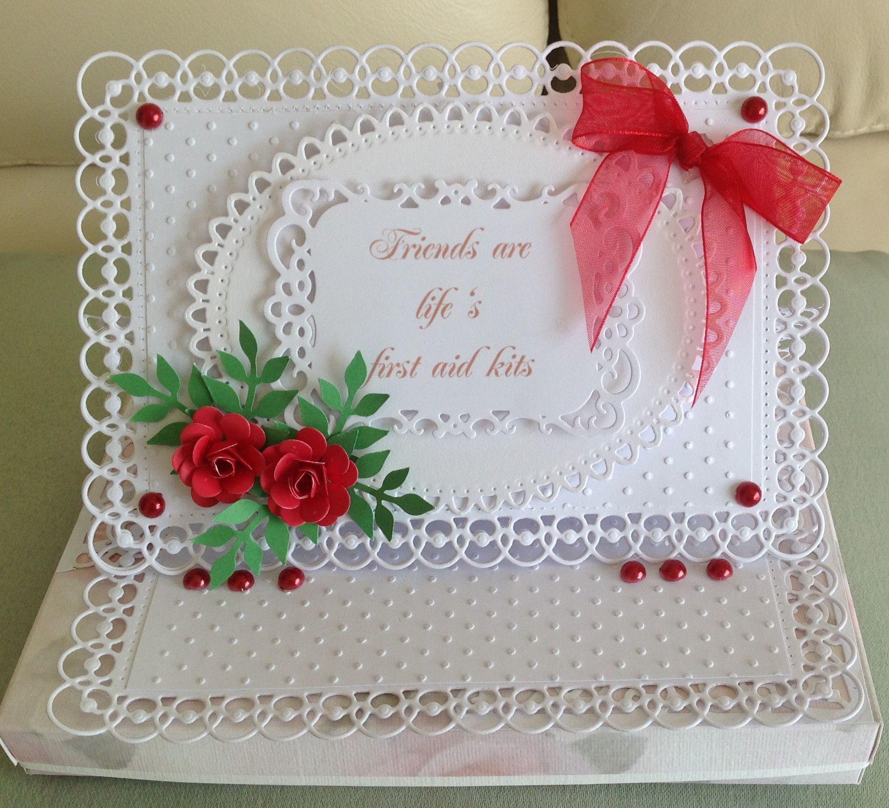 easel card done with spellbinders dies homemade roses www