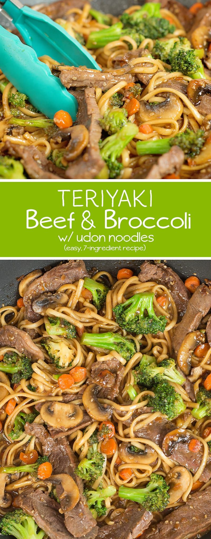 This Teriyaki Beef and Broccoli w/ Udon Noodles is so easy to make and perfect for busy nights! #beefandbroccoli