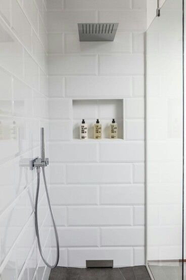 Pin By Sheri Grove On Salle De Bain White Bathroom Tiles Farmhouse Shower Shower Tile